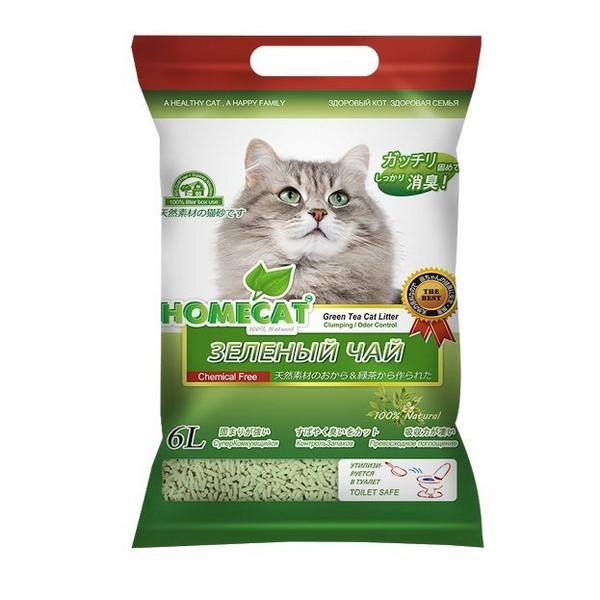Homecat / Комкующийся наполнитель Хоумкэт Эколайн для кошачьего туалета Зеленый чай