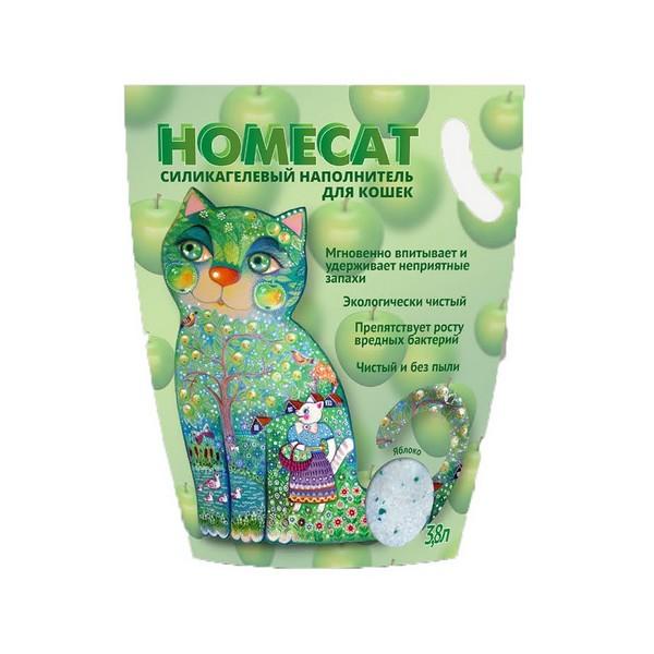 Homecat / Силикагелевый наполнитель Хоумкэт для кошачьего туалета аромат Яблоко