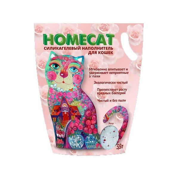 Homecat / Силикагелевый наполнитель Хоумкэт для кошачьего туалета аромат Роза