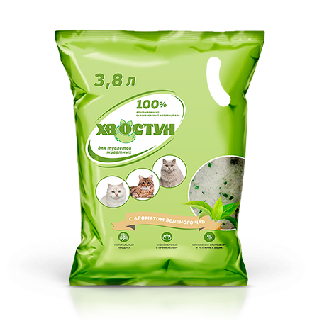 Хвостун / Наполнитель для кошачьего туалета Силикагелевый с ароматом Зеленого чая