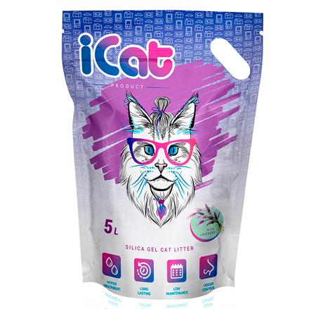 iCat Silica Gel with Lavender / Наполнитель АйКэт для кошачьего туалета Силикагелевый с ароматом Лаванды