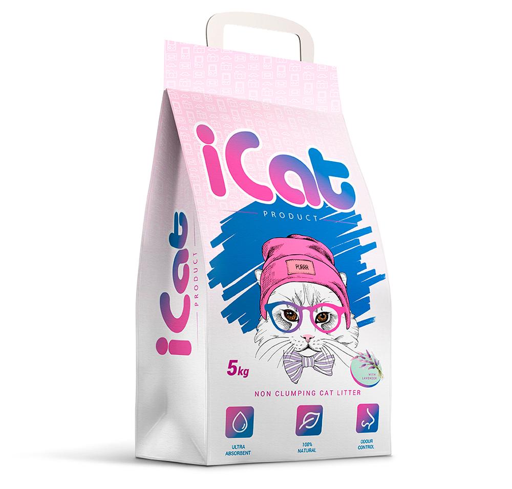 iCat Non Clumping with Lavender / Наполнитель АйКэт для кошачьего туалета Впитывающий с ароматом Лаванды