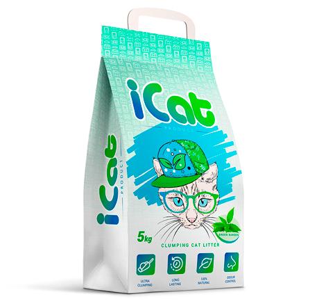 iCat Clumping Green Garden / Наполнитель АйКэт для кошачьего туалета Комкующийся Контроль запаха c ароматом Зеленого сада