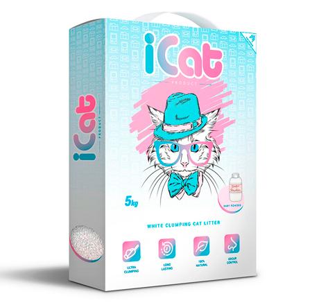 iCat White Clumping Baby Powder / Наполнитель АйКэт для кошачьего туалета Белый Комкующийся с ароматом Детской присыпки
