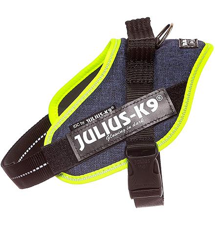 JULIUS-K9 IDC®-Powerharness / Шлейка Джулиус К9 для собак Джинса-зеленый неон