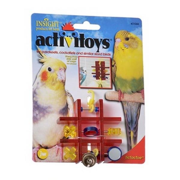 JW Activitoys Tic Tac Toe / Игрушка для птиц Полочка с зеркальцем и колокольчиком