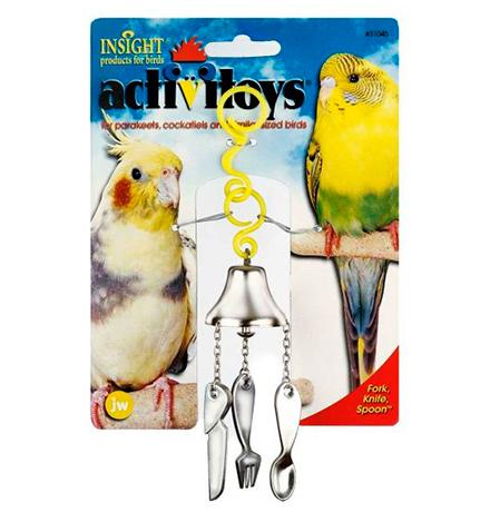 JW Fork, Knife, Spoon / Игрушка для птиц Вилка Ножик Ложка на Колокольчике пластик