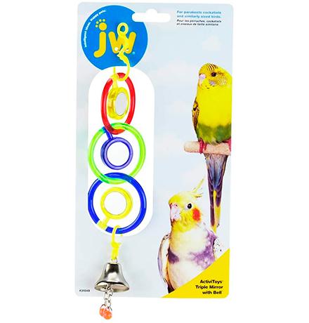 JW Triple Mirror With Bell / Игрушка для птиц 3 зеркальца с колокольчиком пластик