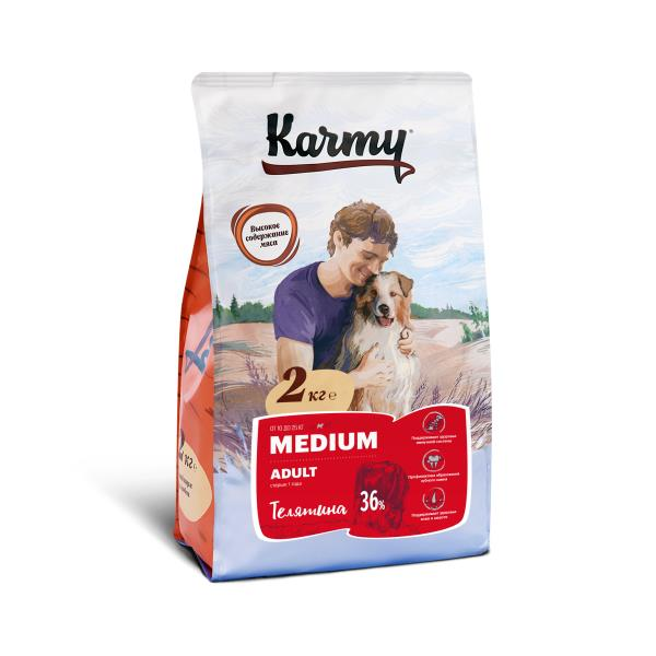 Karmy Medium Adult / Сухой корм Карми для взрослых собак Средних пород Телятина