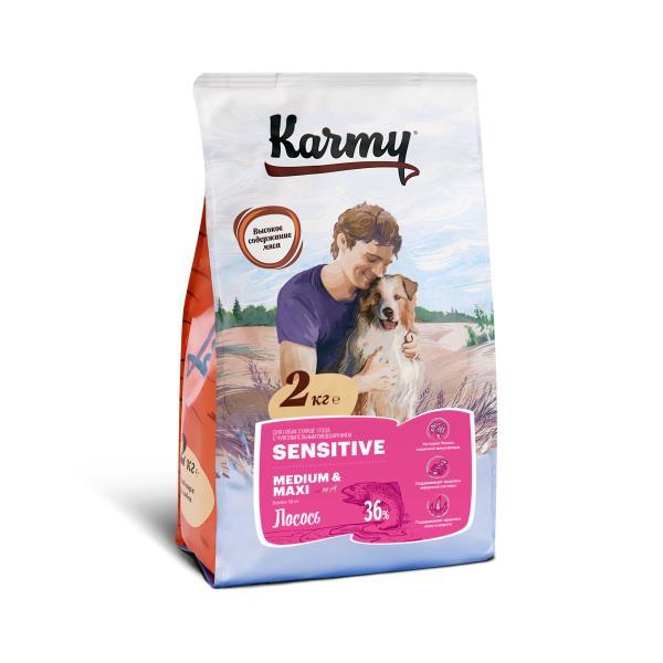 Karmy Sensitive Medium Maxi / Сухой корм Карми для собак Средних и Крупных пород с Чувствительным пищеварением Лосось