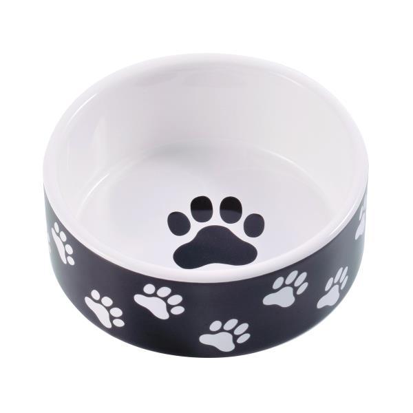 КерамикАрт / Миска керамическая для собак Черная с лапками