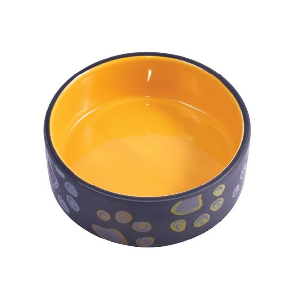 КерамикАрт / Миска керамическая для собак Черная с желтым