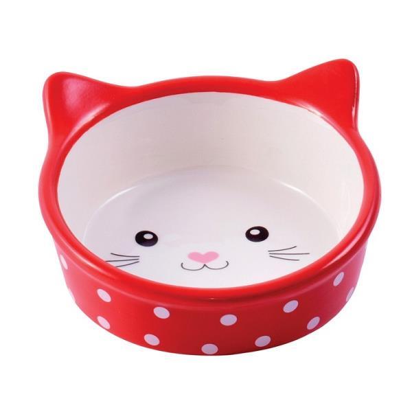 КерамикАрт / Миска керамическая для кошек Мордочка кошки в горошек 250 мл