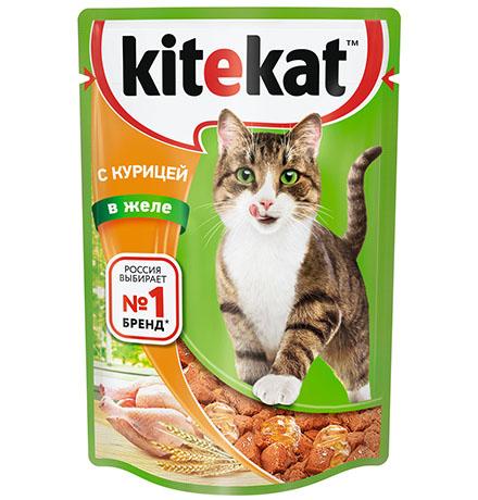 Kitekat / Паучи Китикет для кошек Курица в желе (цена за упаковку)