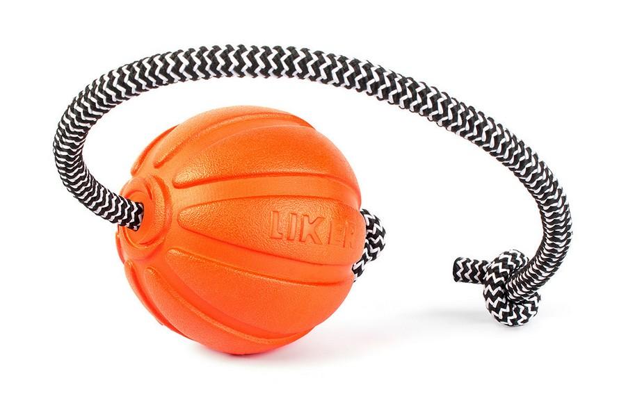 Liker Cord 7 / Мячик Лайкер на шнуре 30 см для собак Мелких и Средних пород Оранжевый