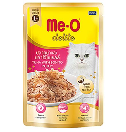 Me-O Cat Adult Delite Tuna Bonito Jelly / Паучи Мио для взрослых кошек Тунец и Антлантическая пеламида в желе (цена за упаковку)