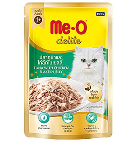 Me-O Cat Adult Delite Tuna Chicken flake Jelly / Паучи Мио для взрослых кошек Тунец и курица в желе (цена за упаковку)
