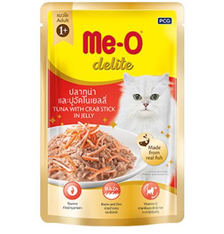 Me-O Cat Adult Delite Tuna Crab sticks Jelly / Паучи Мио для взрослых кошек Тунец и крабовые палочки в желе (цена за упаковку)