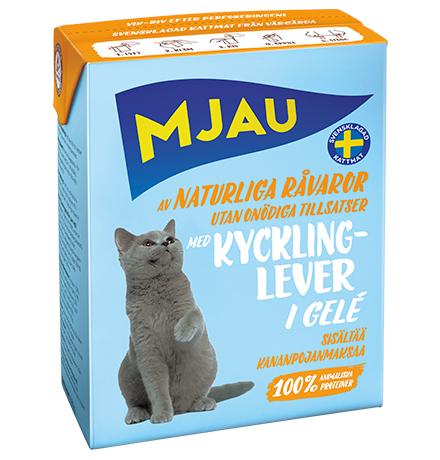 Mjau chunks in jelly with Chicken liver / Консервы Мяу для кошек Мясные кусочки в желе с Куриной печенью (цена за упаковку)
