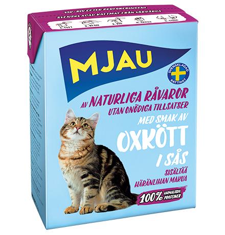 Mjau chunks in sauce with Beef flavour / Консервы Мяу для кошек Мясные кусочки в соусе с Говяжьим вкусом (цена за упаковку)