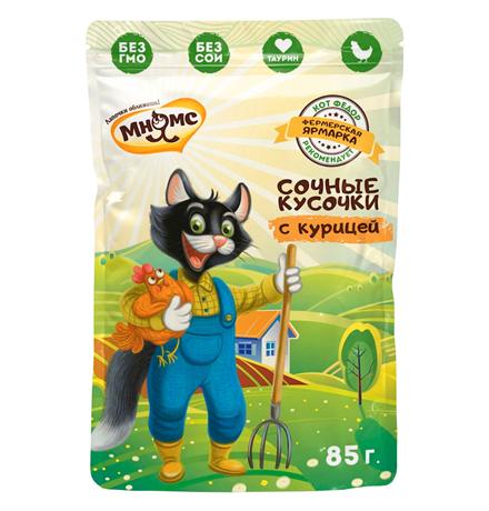 Мнямс Фермерская ярмарка Влажный корм Паучи для кошек Сочные кусочки с Курицей (цена за упаковку)