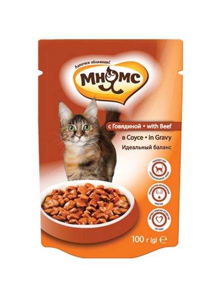 Мнямс Влажный корм Паучи для кошек Идеальный баланс Говядина в соусе (цена за упаковку)