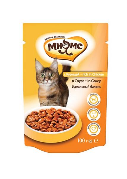 Мнямс Влажный корм Паучи для кошек Идеальный баланс Курица в соусе (цена за упаковку)