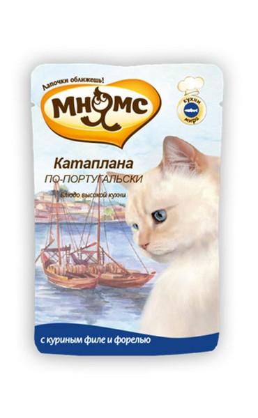 Мнямс Влажный корм Паучи для кошек Катаплана по-Португальски Форель  (цена за упаковку)