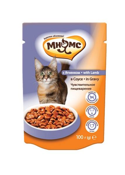 Мнямс Влажный корм Паучи для кошек Чувствительное пищеварение Ягненок в соусе (цена за упаковку)