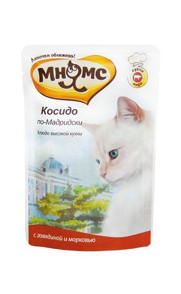 Мнямс Влажный корм Паучи для кошек Косидо по-Мадридски Говядина с морковью (цена за упаковку)