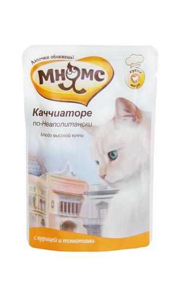 Мнямс Влажный корм Паучи для кошек Каччиаторе по-Неаполитански Курица с томатами (цена за упаковку)