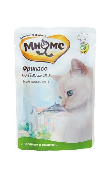 Мнямс Влажный корм Паучи для кошек Фрикасе по-Парижски Кролик с травами (цена за упаковку)