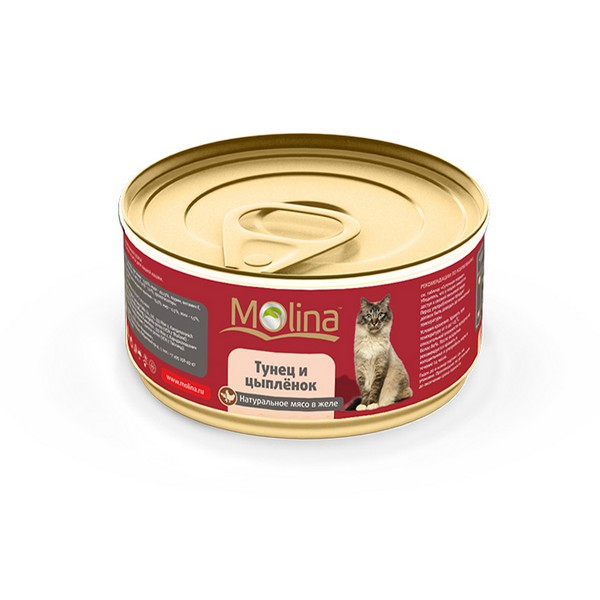 Molina / Консервы Молина для кошек Тунец с цыпленком в желе (цена за упаковку)
