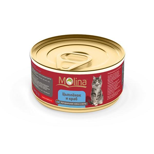 Molina / Консервы Молина для кошек Цыпленок с крабами в желе (цена за упаковку)