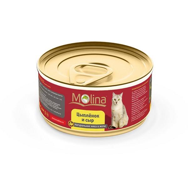 Molina / Консервы Молина для кошек Цыпленок с сыром в желе (цена за упаковку)