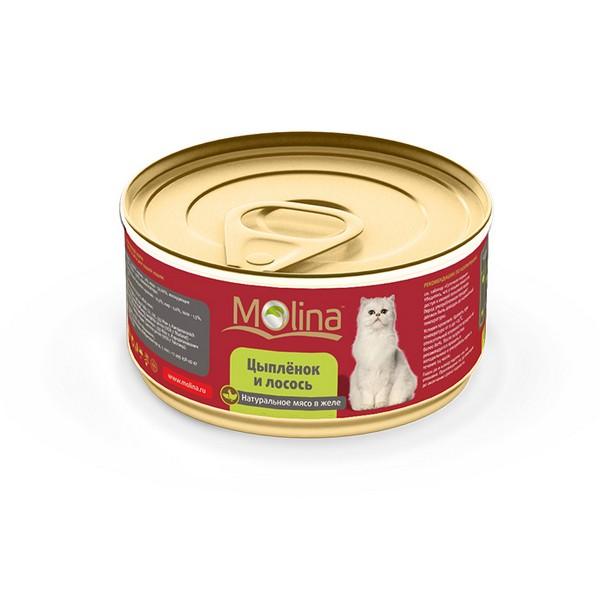 Molina / Консервы Молина для кошек Цыпленок с лососем в желе (цена за упаковку)