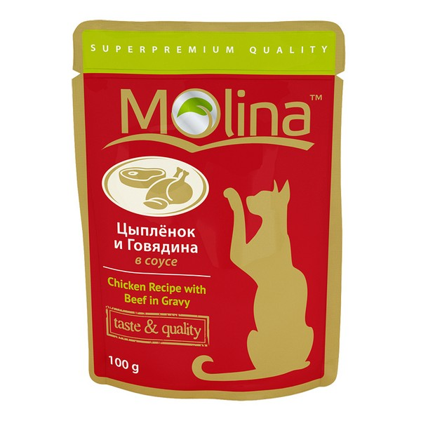 Molina / Паучи Молина для кошек Цыпленок и Говядина в соусе (цена за упаковку)