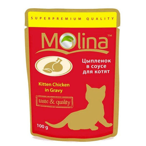 Molina Kitten / Паучи Молина для кошек Цыпленок в соусе (цена за упаковку)