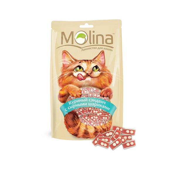 Molina / Лакомство Молина для кошек Куриный сэндвич с сырными шариками