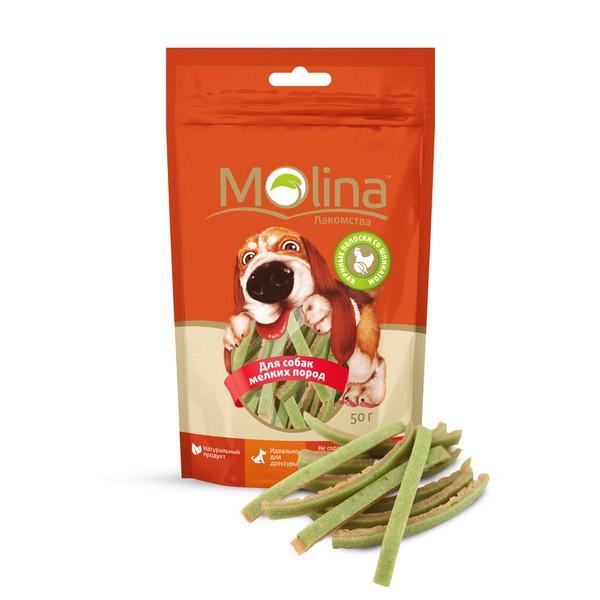 Molina / Лакомство Молина для собак Мелких пород Куриные полоски со шпинатом