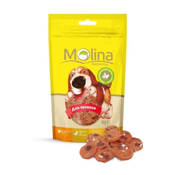 Molina / Лакомство Молина для Щенков Куриные медальоны с сыром и печенью