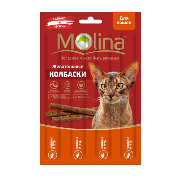 Molina / Лакомство Молина для кошек Жевательные колбаски Оленина Гусь