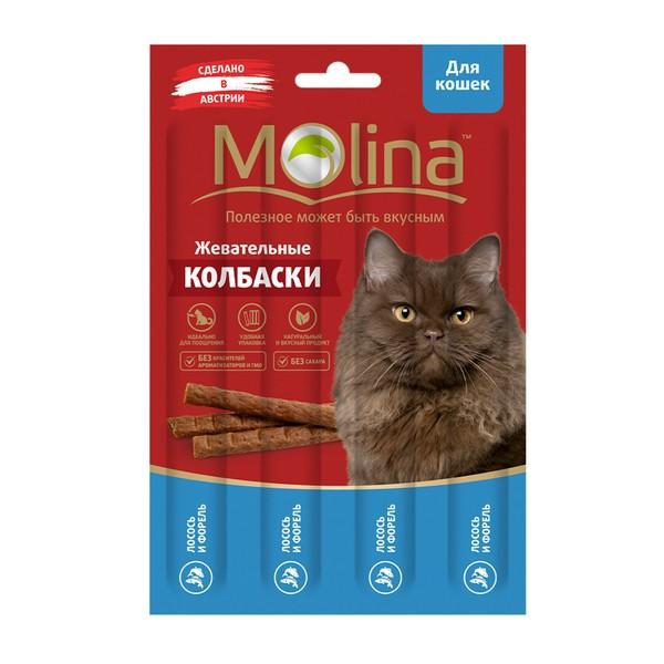 Molina / Лакомство Молина для кошек Жевательные колбаски Лосось Форель