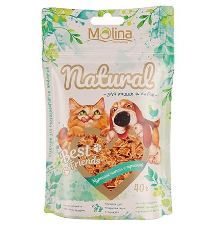 Molina Best Friends / Лакомство Молина для кошек и собак Куриные чипсы с треской