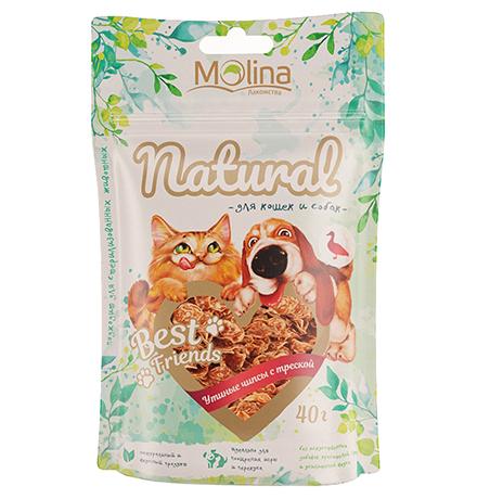 Molina Best Friends / Лакомство Молина для кошек и собак Утиные чипсы с треской