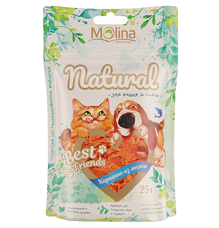 Molina Best Friends / Лакомство Молина для кошек и собак Карпаччо из лосося