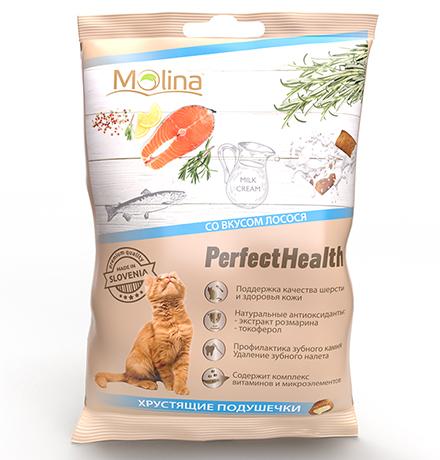 Molina PerfectHealth Хрустящие подушечки / Лакомство Молина для кошек со Вкусом Лосося