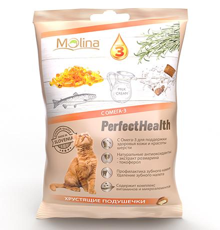 Molina PerfectHealth Хрустящие подушечки / Лакомство Молина для кошек с Омега-3