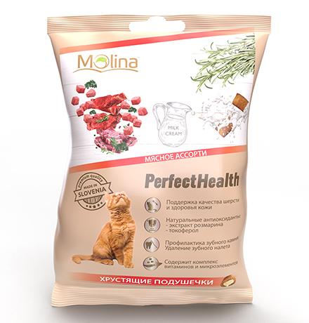 Molina PerfectHealth Хрустящие подушечки / Лакомство Молина для кошек Мясное ассорти