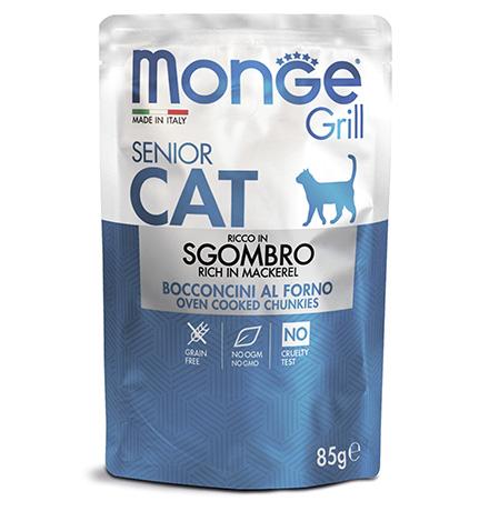 Monge Grill buste Senior sgombro / Влажный корм Паучи Монж для Пожилых кошек Эквадорская макрель (цена за упаковку)